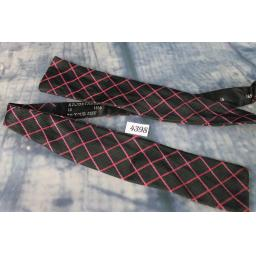 Superb Vintage Fuchia & Black Crosshatch Self Tie Square End Paddle Bow Tie