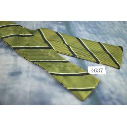 Vintage Self Tie Straight End Skinny Bow Tie Olive & Narrow Striped