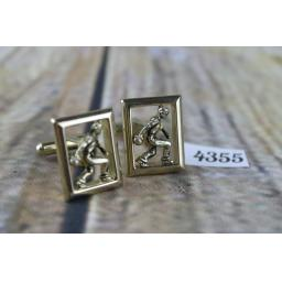 "Gold Metal Figure Playing Bowls In Frame Cuff Links Ten Pin or Crown Green 7/8"" x 5/8"""