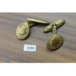 Vintage Embossed & Shield Gold Metal Oval Chain Connect Cuff Links 1950s