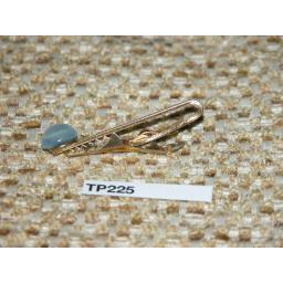 Vintage Gold Metal Tie Clip Blue Pearlised Glass Stone TP225