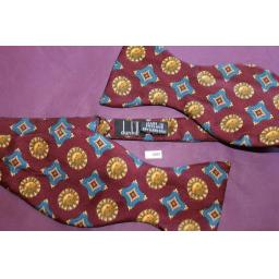 Vintage Dunhill Burgundy Sun Pattern Self Tie Square End Thistle Bow Tie