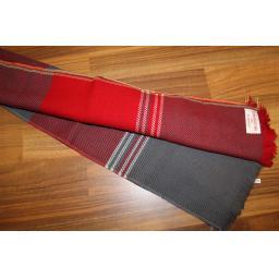 Vintage Mens 100% Zephyr Wool Plaid Tartan Fringed Scarf Burgundy Grey Retro Mod