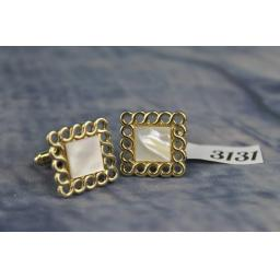 Vintage Gold Metal And Mother of Pearl Quality Cuff Links