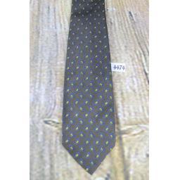 Vintage All Silk Foullard Hand Blocked The University Shop 1960s Skinny Mod Era Paisley Tie Olive & Gold