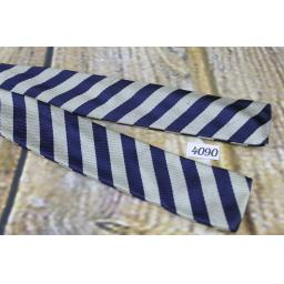 Vintage Self Tie Straight End Paddle Bow Tie Navy & Silver Stripe