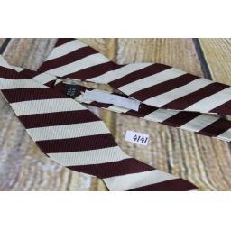 Vintage Raleighs 100% Silk Self Tie Straight End Thistle Bow Tie Burgundy & Ivory Striped