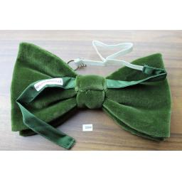 Vintage 1970s Pre-Tied Bow Tie Olive Green Velvet Adjustable Collar Size