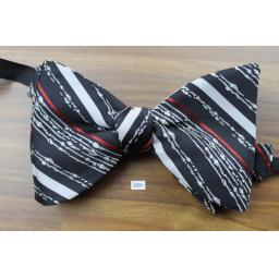 Vintage 1970s Large Black, Red & White Pre-tied Adjustable Butterfly Bow Tie