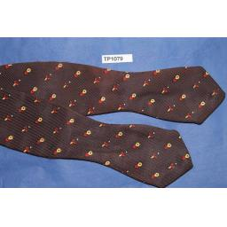 Vintage Self Tie Arrow End Bow Tie Brown/Gold/ Red Repeat Pattern