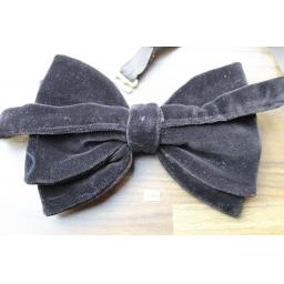 Vintage Pascha 1970s Pre-Tied Bow Tie Dark Brown Velvet Adjustable Collar Size