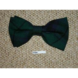 Vintage Clip On Bow Tie Tartan Plaid Blue Green Classic 70's Style