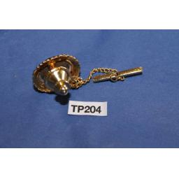 Vintage Gold Metal Tie Pin Set With Brown Agate Stone WIth Shirt Chain TP204