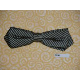 Vintage Clip On Silver and Black Stripe Silk Bow Tie