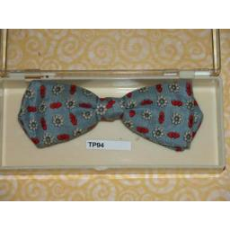 Vintage Clip On Bow Tie Light Denim Blue Patterned In Original Box