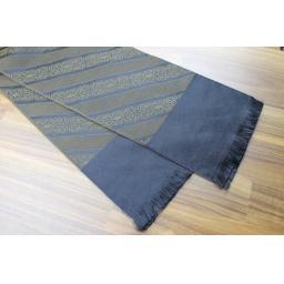 Vintage Mens Trevira Olive & Black Striped Fleur De Lys Fringed Scarf Retro Mod