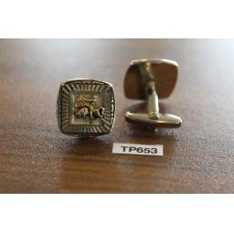 Vintage Silver & Gold Metal Cufflinks Bull fighter