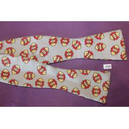 Vintage Sherman 100% Silk Self Tie Straight End Bow Tie Grey Red Yellow