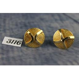 Vintage Gold Brushed Metal & Raised Cross Round Cufflinks