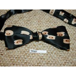 Vintage Pre-tied End Square Bow Tie Black WIth Dark Cream Repeat Pattern