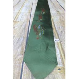 "Superb Vintage 1940s/1950s Hand Painted Dark Green Wild Ducks Tie 4.5"" Wide Lindyhop/Swing"