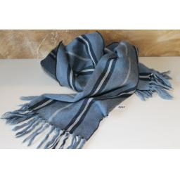 Vintage Airforce Bluey/Grey Striped Fringed Scarf