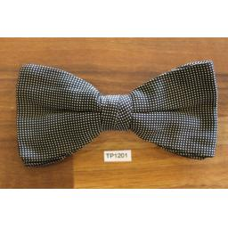 Vintage Clip On Bow Tie Black And White Micro Check