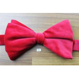 Vintage 1970s Pre-Tied Bow Tie Cherry Red Velvet Adjustable Collar Size