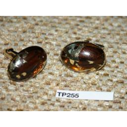 Vintage Cuff Links Gold Metal / Large Brown & Gold Foil Art Glass Stones TP255