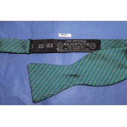 Vintage 100% Silk Self Tie Straight End Thistle Bow Tie Turquoise/Gold Stripe