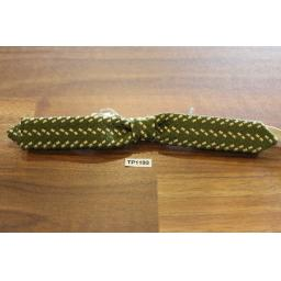 Vintage Pretied Elasticated Bowtie Wide & Skinny Western Green Tweed