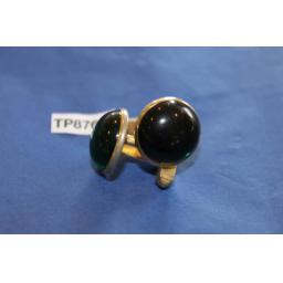 Vintage Gold Metal Cuff Links Emerald Green Lucite Moonstones
