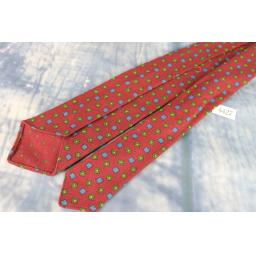 Vintage Made In England For Bambergers New Jersey 1950s Skinny Tie Burgundy, Green & Blue All Wool