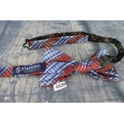 Superb Stafford Blue & Burgundy Plaid Tartan Check Pre-Tied Bow Tie Adjustable to Fit All Collar Sizes