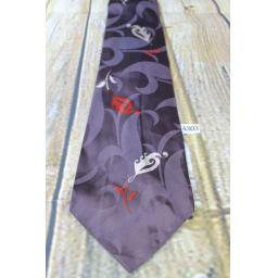 "Superb Vintage 1940s/1950s Barths Resilio Aubergine & Red Pattern Jacquard Tie 4.25"" Wide Lindyhop/Swing/Zoot Suit/Rat Pack"