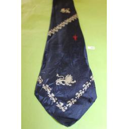 "Vintage 1940s/50s All Silk Lions & Fleur De Lis Jacquard Tie 3.5"" Wide Navy Red & Grey"