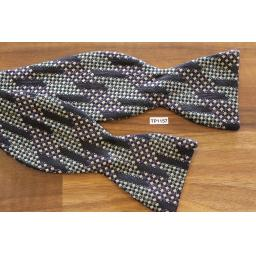 Vintage XMI Self Tie Straight End Thistle Bow Tie Black Blue & Green Jacquard Pattern
