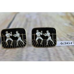 "Vintage Gold Metal Large Enamelled Cuff Links Boxers Pugilists In The Ring 1"" x 3/4"""