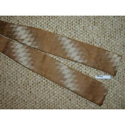 Vintage All Silk Square End Self Tie Bow Tie Golds/Cream Diamond Pattern