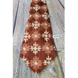 "Superb Vintage 1940s/1950s All Silk The Leader Kansas City Terracotta & Gold Pattern Jacquard Tie 4.25"" Wide Lindyhop/Swing/Zoot Suit/Rat Pack"