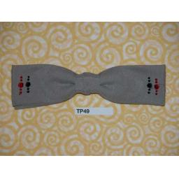 Vintage Clip On Bow Tie Grey With Black & Red Symetrical Pattern Square End