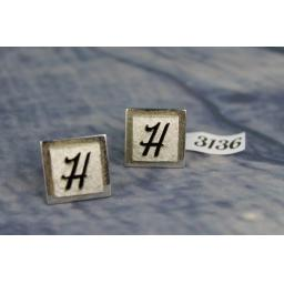 "Vintage SWANK Silver Metal & Brushed Metal & Black ""H"" Initial Cufflinks"