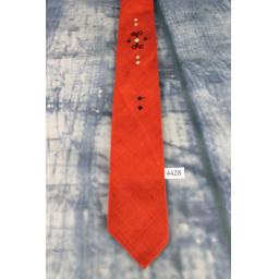 Vintage 1960s Black Red Tie Narrow/Skinny Jim/Rat Pack/Deco Style Mod
