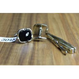 Vintage Gold Metal & Black Glass With Diamantes Cuff Links & Tie Clip Set