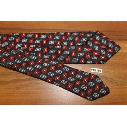Vintage Navy Red Grey Pattern Jacquard 5 cms Tie Narrow/Skinny Jim/ Mod