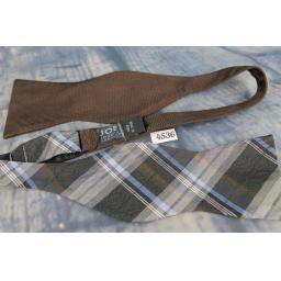 Superb Joseph Abboud Unusual Different Ended Brown/Tartan Plaid Self Tie Square End Thistle Bow Tie
