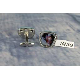 Vintage HICKOK Silver Metal Cufflinks Colourful Red Blue Black Stone