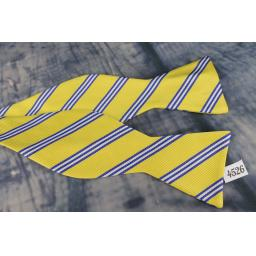Superb Stafford Broad Stripe Yellow & Blue Self Tie Square End Thistle Bow Tie