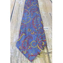 "Superb Vintage 1940s/1950s Ancient Madder Blue Burgundy Gold Tie 3.5"" Wide"