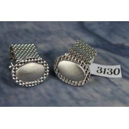 Vintage 1980s Large Silver Metal Oval Wrap Around Cufflinks